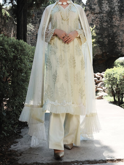 Off White Net & Silk 3 Piece Formal Unstitched - LS-303