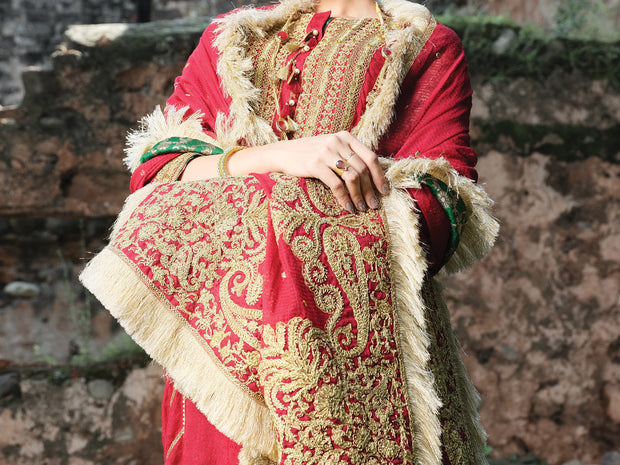Red Silk 3 Piece Formal Unstitched - LS-305