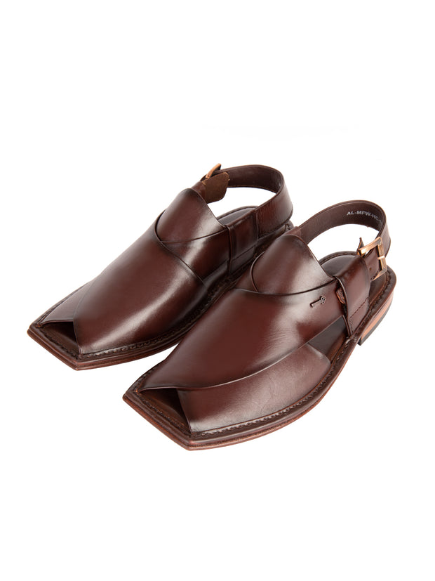 Burgundy Leather Peshawari Chappal - AL-MFW-HC-111