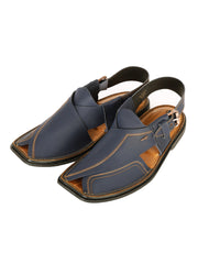 Blue Leather Peshawari Chappal - AL-MFW-HC-123