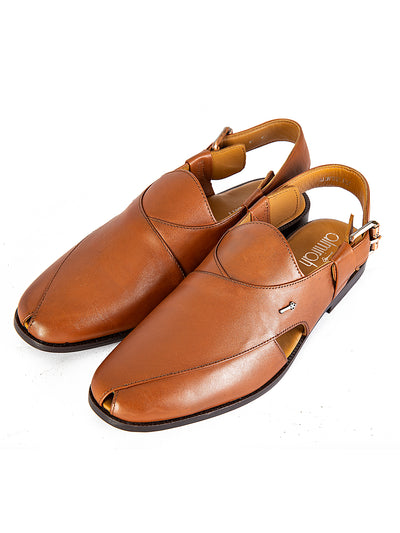 Brown Leather Peshawari Chappal - AL-MFW-HC-142
