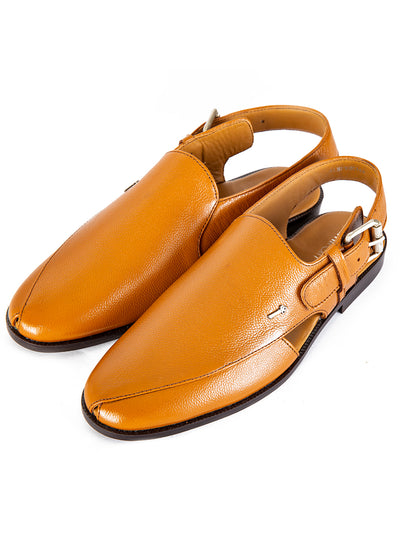 Tan Leather Peshawari Chappal - AL-MFW-HC-144