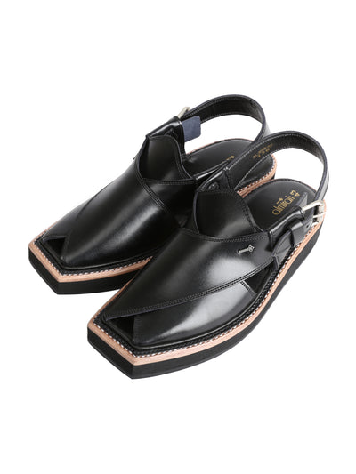 Black Leather Peshawari Chappal - AL-MFW-HCK-136