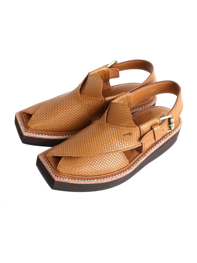 Brown Leather Kaptaan Chappal - AL-MFW-HCK-137