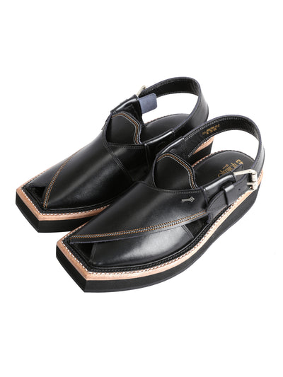 Black Leather Kaptaan Chappal - AL-MFW-HCK-138