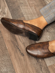 Brown Leather Slip-On - AL-MSHO-003-20
