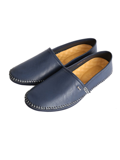 Navy Blue Leather Slip-On - AL-MSHO-011-20
