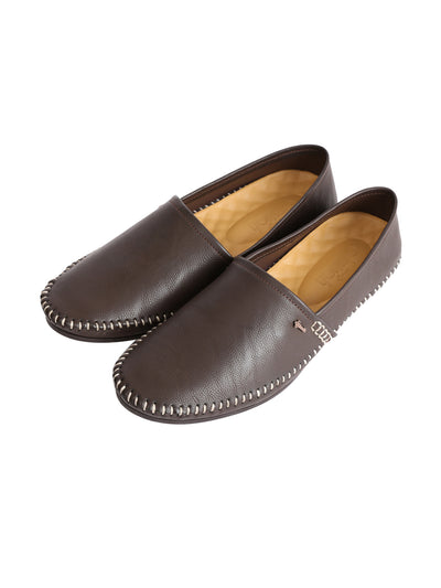 Coffee Leather Slip-On - AL-MSHO-012-20