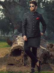 Black Textured Prince Coat - AL-PCS-008