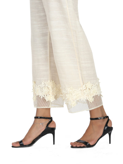 Off White Organza Trouser - AL-T-428B