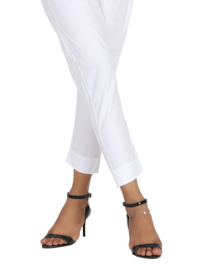 White Cotton Trouser - AL-T-441
