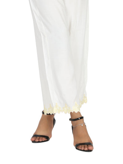 White Viscose Trouser - AL-T-453