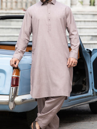 Light Brown Blended Kameez Shalwar - ALWA-KS-136