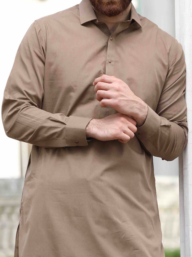 Light Brown Cotton Kameez Shalwar - ALWA-KS-142
