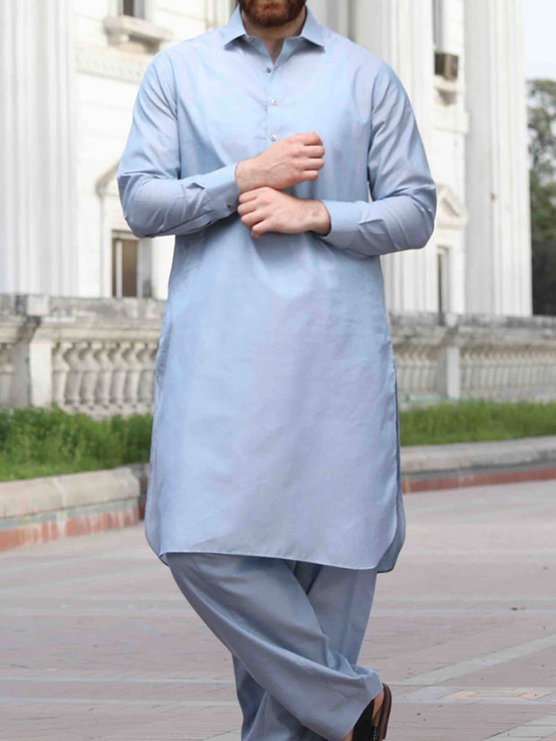 Light Blue Cotton Kameez Shalwar - ALWA-KS-143