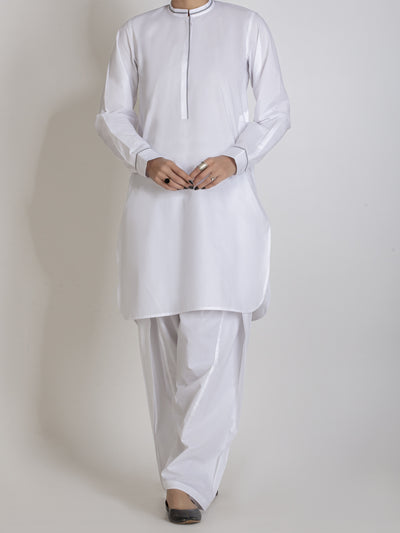 White 2 Piece Stitched - ALBQ-LKS-001