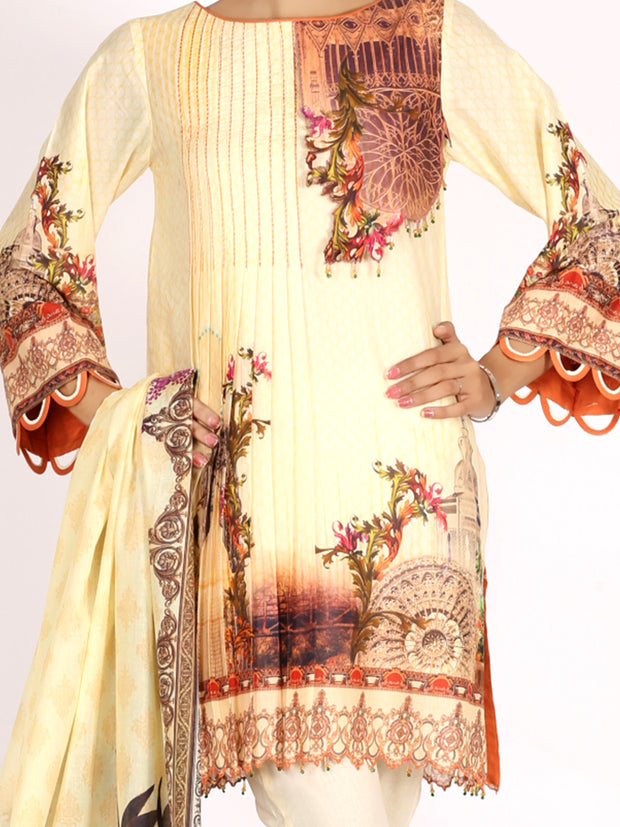 Beige Lawn 2 Piece Unstitched - ALP-2PS-1000