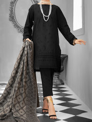 Black Cotton Dobby 3 Piece Stitched - ALP-1027