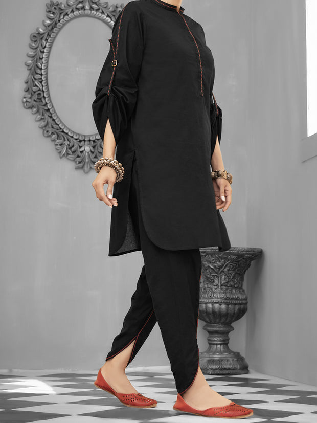 Black Cambric 2 Piece Stitched - ALP-1034