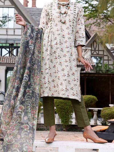 Beige Lawn 3 Piece Stitched - ALP-3PS-1046/S