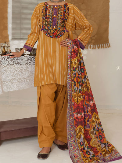 Mustard Yarn Dyed Jacquard 3 Piece Unstitched - ALP-3PS-1049