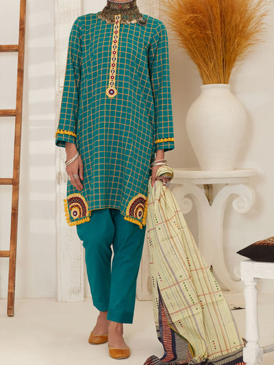 Green Jacquard 3 Piece Unstitched - ALP-3PS-1050