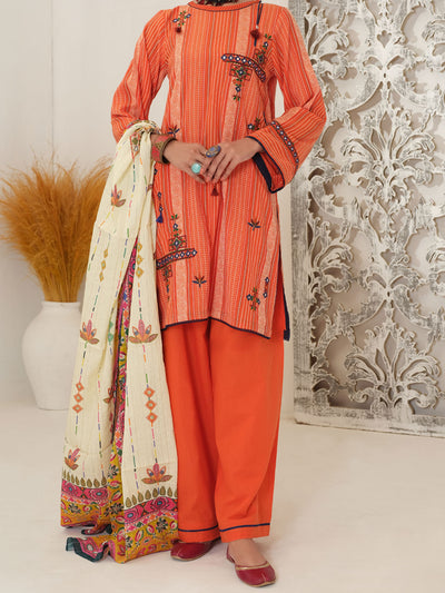 Orange Yarn Dyed Jacquard 3 Piece Stitched - ALP-3PS-1051/S