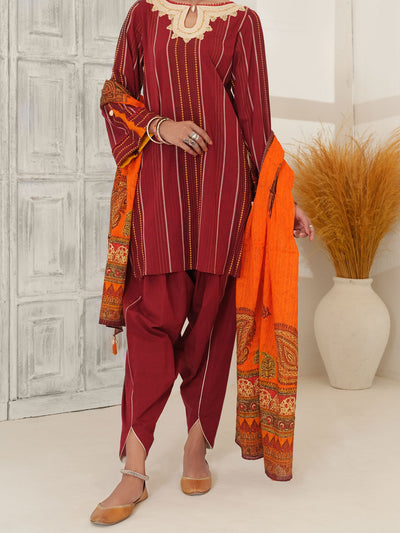 Maroon Jacquard 3 Piece Unstitched - ALP-3PS-1052