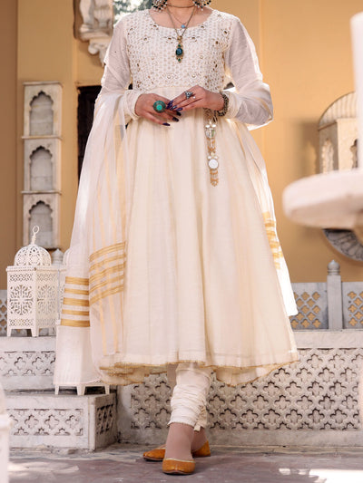 White Khaddi 3 Piece Stitched - ALP-3PS-1072/S