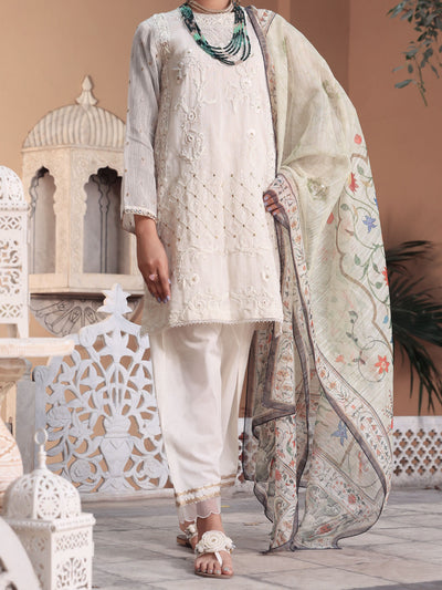 White Khaddi 3 Piece Stitched - ALP-3PS-1073/S