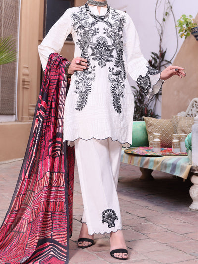 White Lawn 3 Piece Stitched - ALP-3PS-1082/S