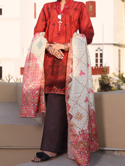 Maroon Lawn 3 Piece Stitched - ALP-3PS-1118/S