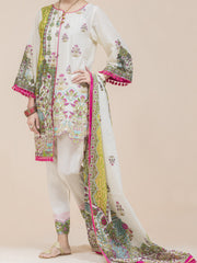 Off White Lawn 3 Piece Unstitched - ALP-3PS-777