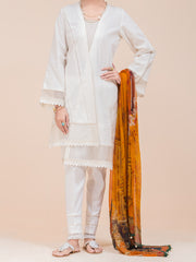 White Lawn 3 Piece Stitched - ALP-3PS-793