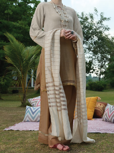 Beige 3 Piece Unstitched - ALP-3PS-828