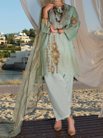 Aqua Lawn 3 Piece Stitched - ALP-3PS-887