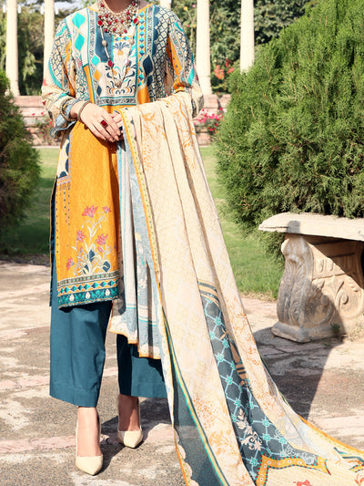 Mustard Lawn 3 Piece Unstitched - ALP-3PS-923
