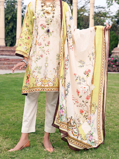 Off White Lawn 3 Piece Unstitched - ALP-3PS-924
