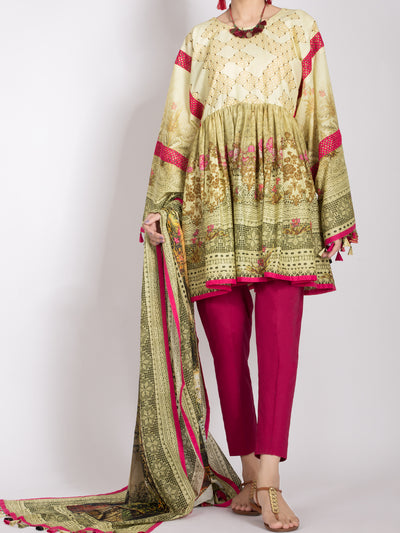 Almirah ALP-2PS 996 Lime Yellow Lawn Collection