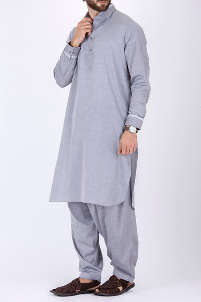 Ash Grey Cotton Kameez Shalwar - ALWA-KS-104
