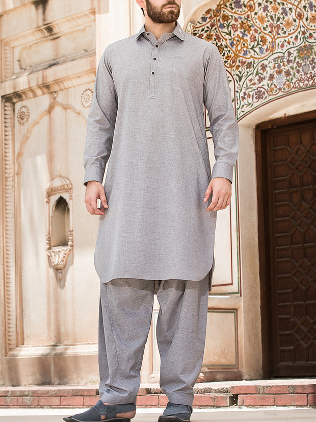 Light Grey Blended Kameez Shalwar - ALWA-KS-124