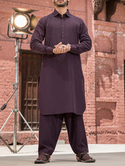 Purple Cotton Kameez Shalwar - ALWA-KS-147