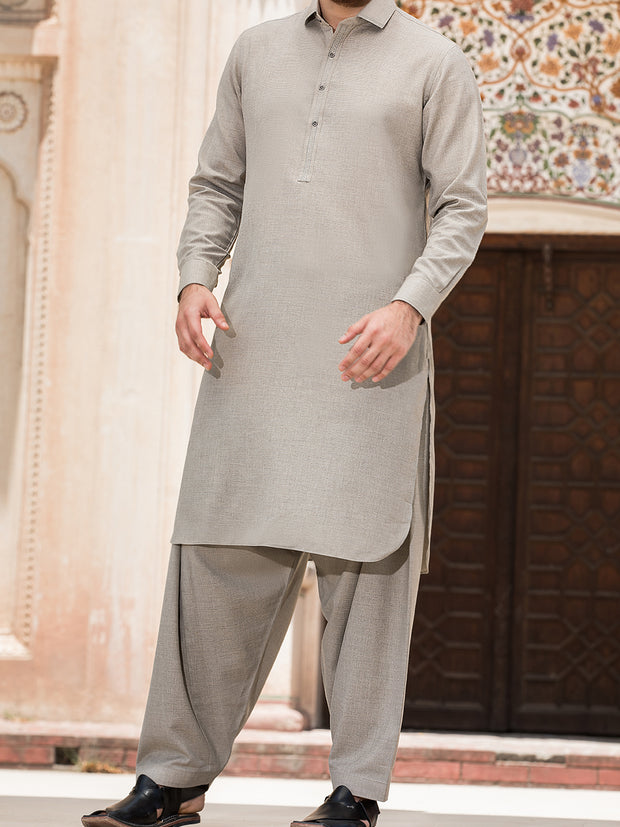Sand Colored Blended Kameez Shalwar - ALWA-KS-148