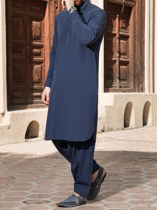 Blue Cotton Kameez Shalwar - ALWA-KS-149