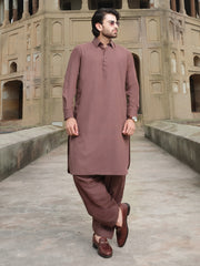 Brown Blended Kameez Shalwar - ALWA-KS-206