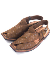 Brown Leather Peshawari Chappal - MFW-FB-018