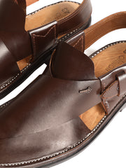 Brown Leather Peshawari Chappal - MFW-HC-091