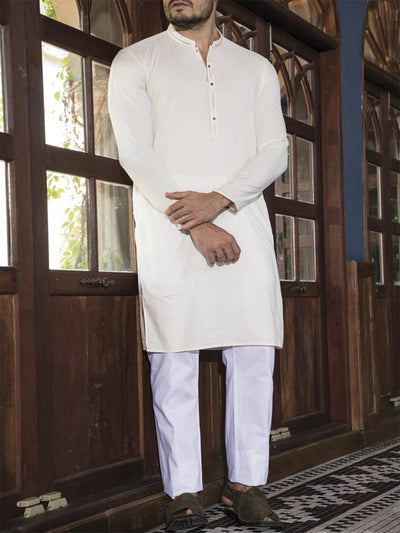 Creamy Yellow Blended Kurta - AL-K-664