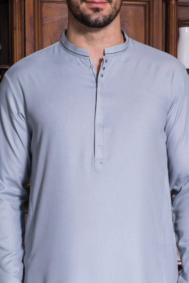 Light Gray Blended Kurta - AL-K-718