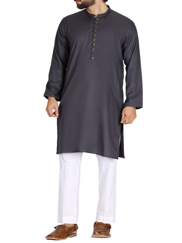 Dark Grey Blended Kurta - AL-K-719